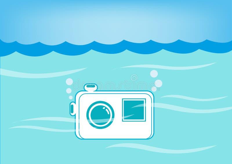 Vatten-provexemplar kamera doppat undervattens- Vektor EPS10 och jpg royaltyfri illustrationer