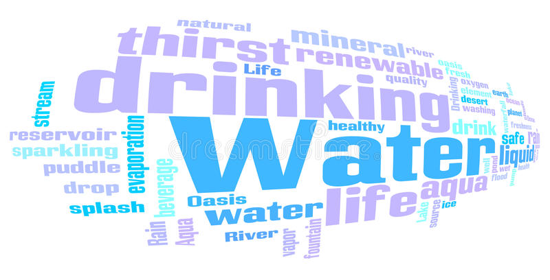 Vatten släkt ordordmoln royaltyfri illustrationer