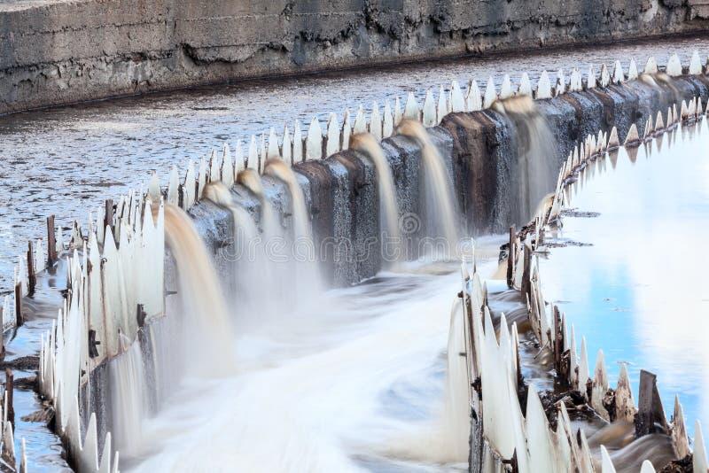 Vatten som flödar över från nybyggare royaltyfria bilder