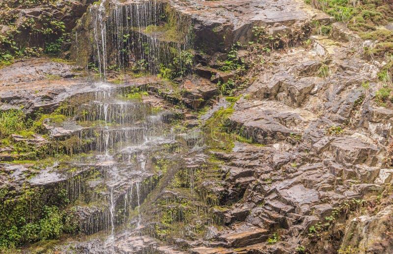 Vatten som flödar ner den steniga avsatsen royaltyfri foto