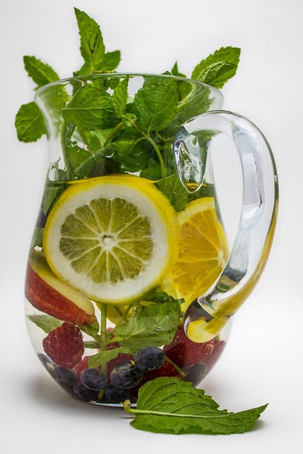 Vatten som inges med frukt royaltyfri fotografi
