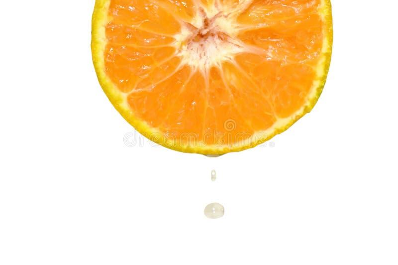 Vatten som tappar på orange halvt snitt för tangerin i vit bakgrund royaltyfri fotografi