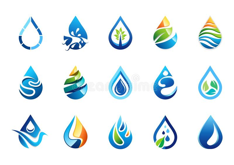 Vatten tappar logoen, uppsättning av symbolen för vattendroppsymbolet, design för vektor för naturdroppbeståndsdelar vektor illustrationer