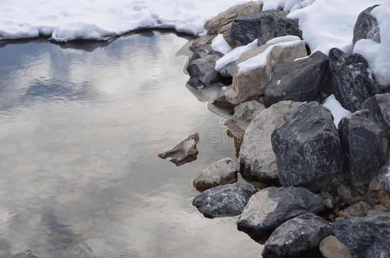Vatten vaggar och snöar royaltyfria foton