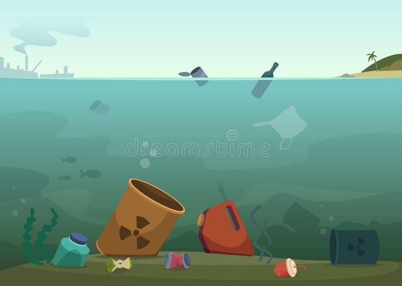 Vattenavfalls Plast- flaskor för naturförorening i bakgrund för begrepp för vektor för natur för räddning för avfall för djur för royaltyfri illustrationer