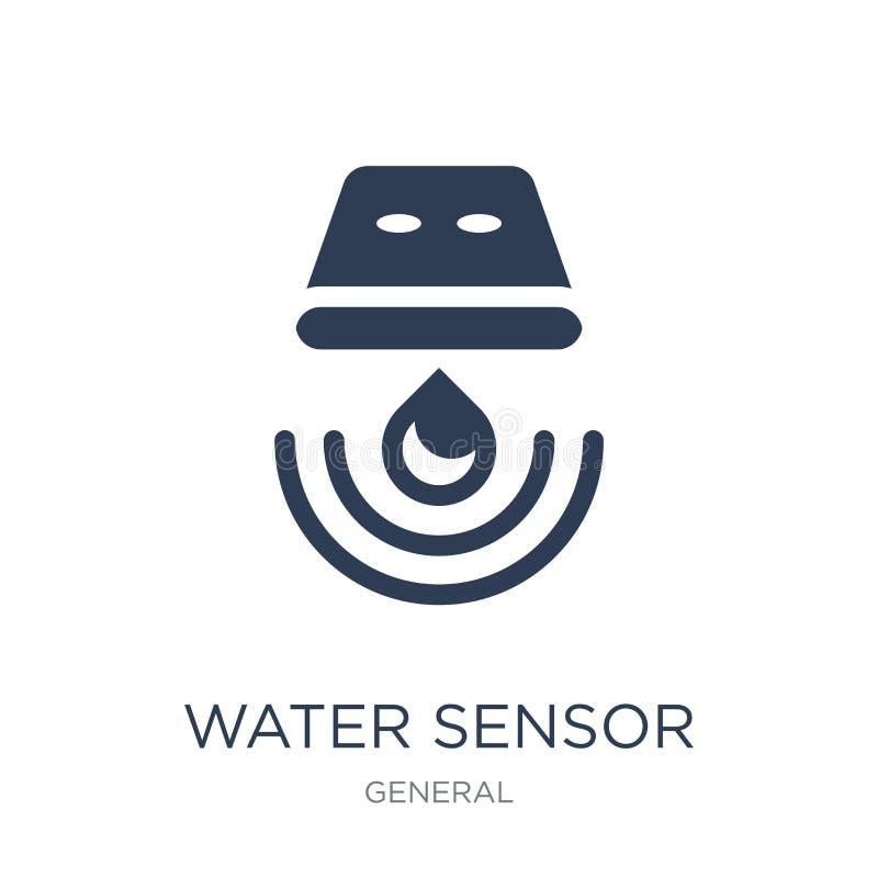 vattenavkännaresymbol Moderiktig plan symbol för vektorvattenavkännare på vit royaltyfri illustrationer