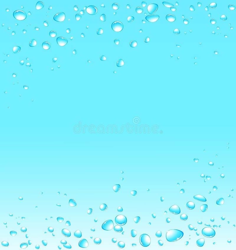 Vattenbakgrund med många droppar stock illustrationer