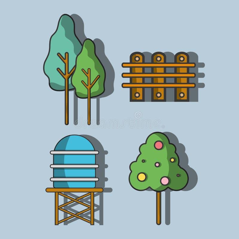 Vattenbehållare med träd och rasterträ vektor illustrationer