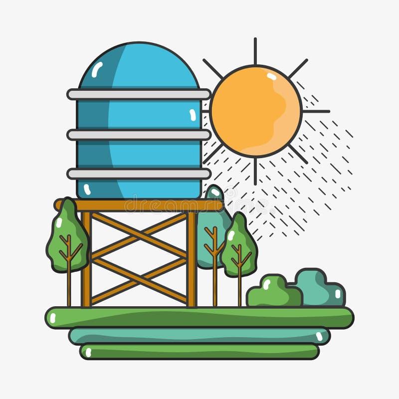 Vattenbehållare med träd och solen stock illustrationer