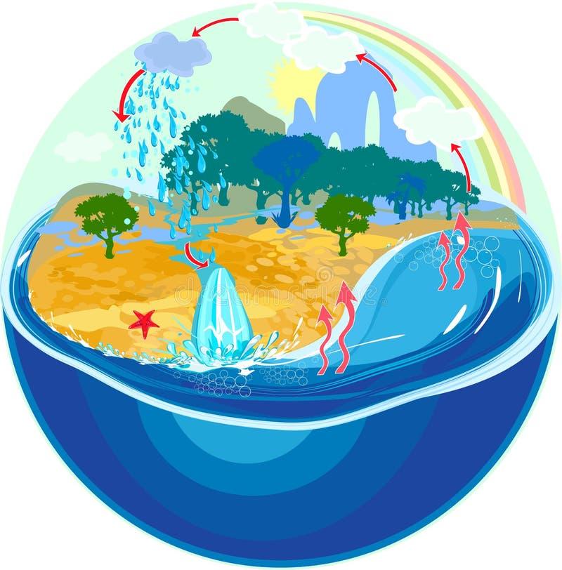Vattencirkulering i natur stock illustrationer