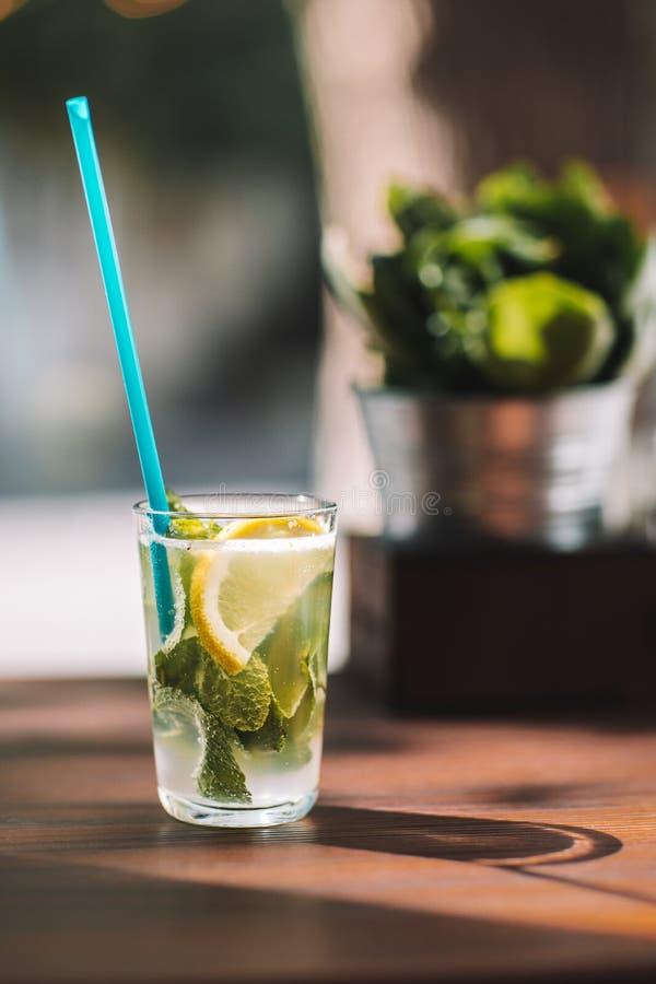 Vattendetox med citronen och mintkaramellen på en mörk träbakgrund arkivfoto