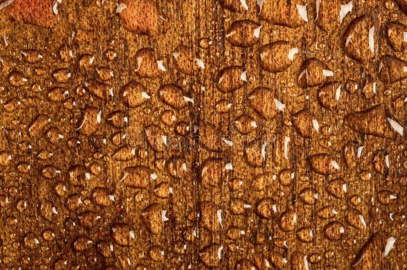 Vattendroppar på wood materiell textur royaltyfria bilder
