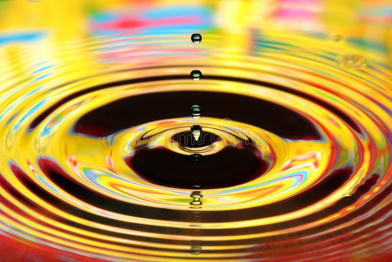Vattendroppar plaskar i ett exponeringsglas Gula kulöra krusningar, reflexioner royaltyfri bild