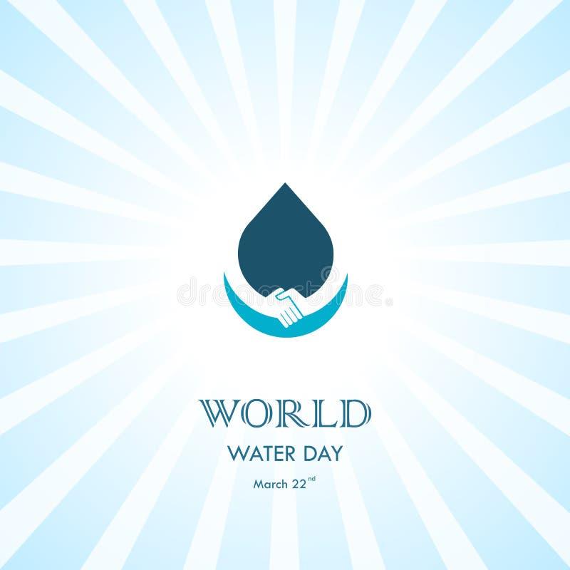 Vattendroppe med den mänskliga mallen för design för handvektorlogo Värld Wat stock illustrationer