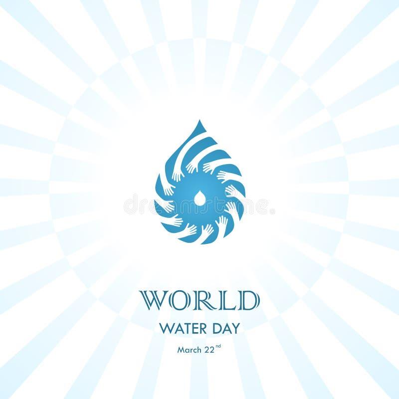Vattendroppe med den mänskliga mallen för design för handvektorlogo Värld Wat vektor illustrationer