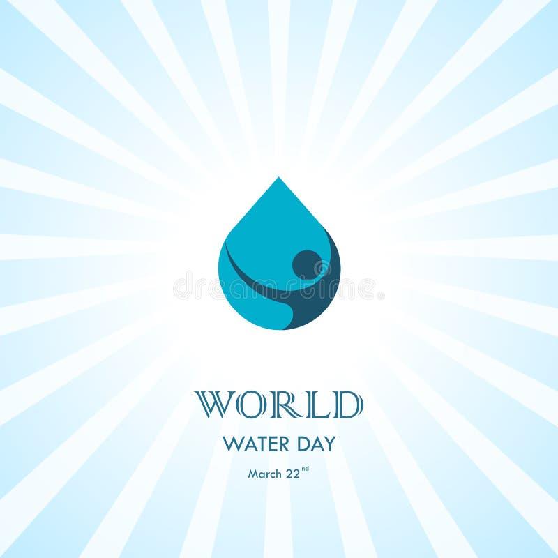 Vattendroppe med den mänskliga mallen för design för symbolsvektorlogo Värld Wat royaltyfri illustrationer