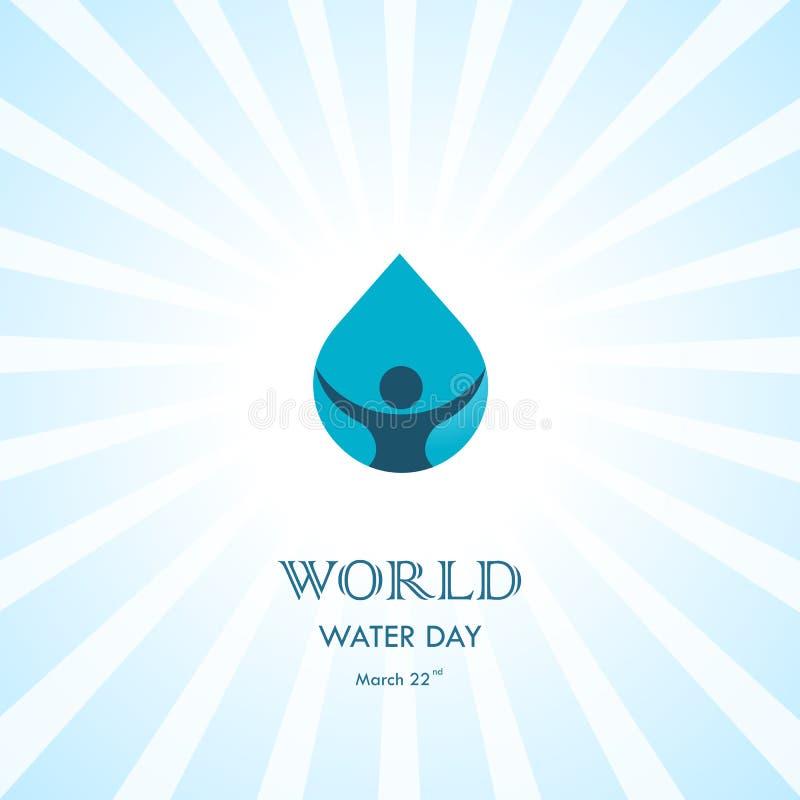 Vattendroppe med den mänskliga mallen för design för symbolsvektorlogo Värld Wat stock illustrationer