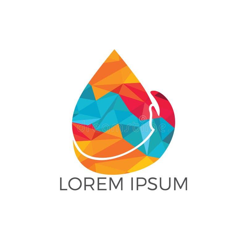 Vattendroppe med mänsklig design för handvektorlogo stock illustrationer