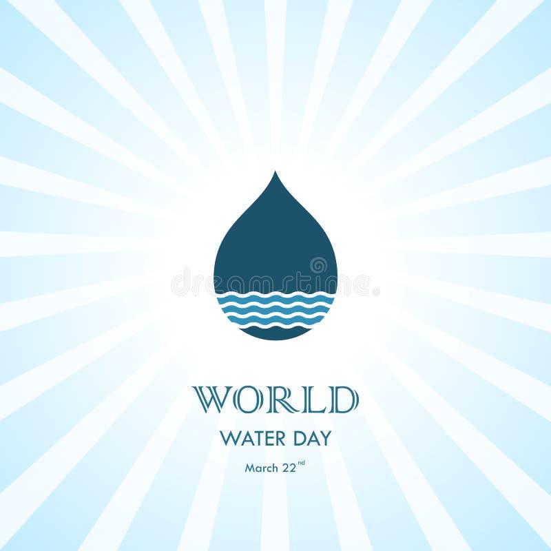 Vattendroppe med mallen för design för logo för vektor för symbol för vattenvågor Wor royaltyfri illustrationer