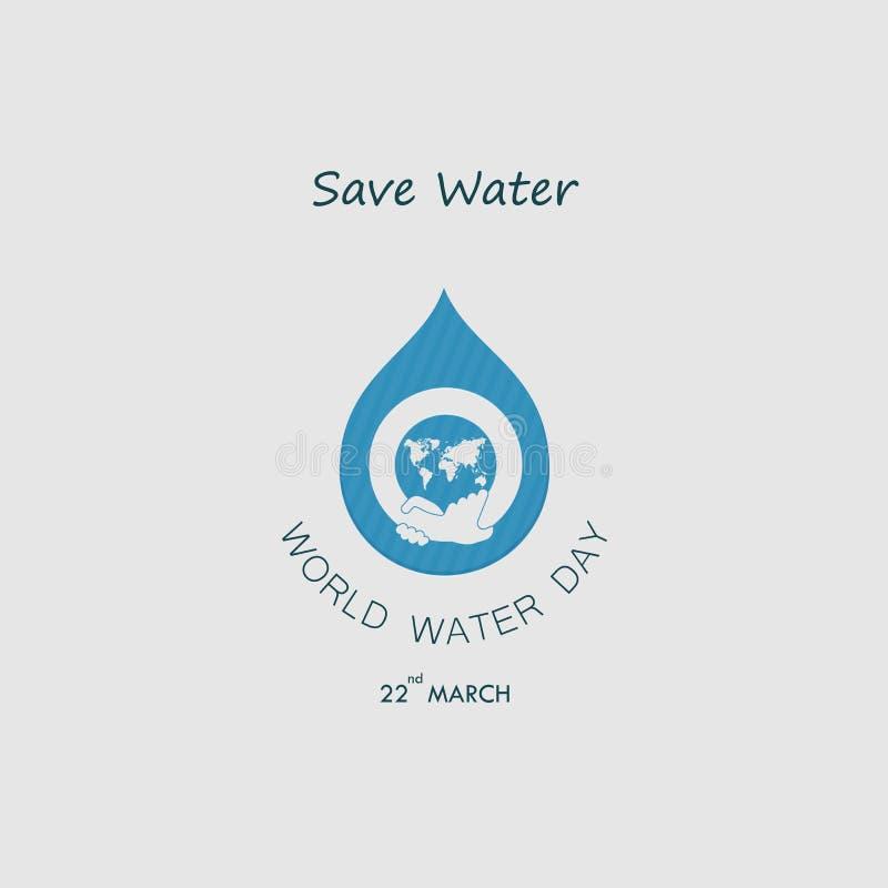 Vattendroppe med världssymbolen och den mänskliga handvektorlogoen planlägger tem stock illustrationer