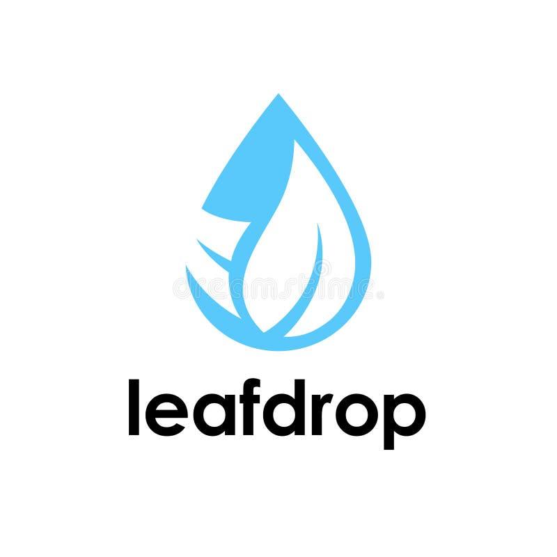 Vattendroppe och bladlogosymbol stock illustrationer
