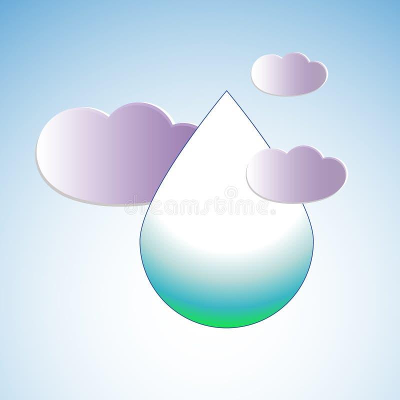 Vattendroppe som omges av moln, illustration royaltyfri illustrationer
