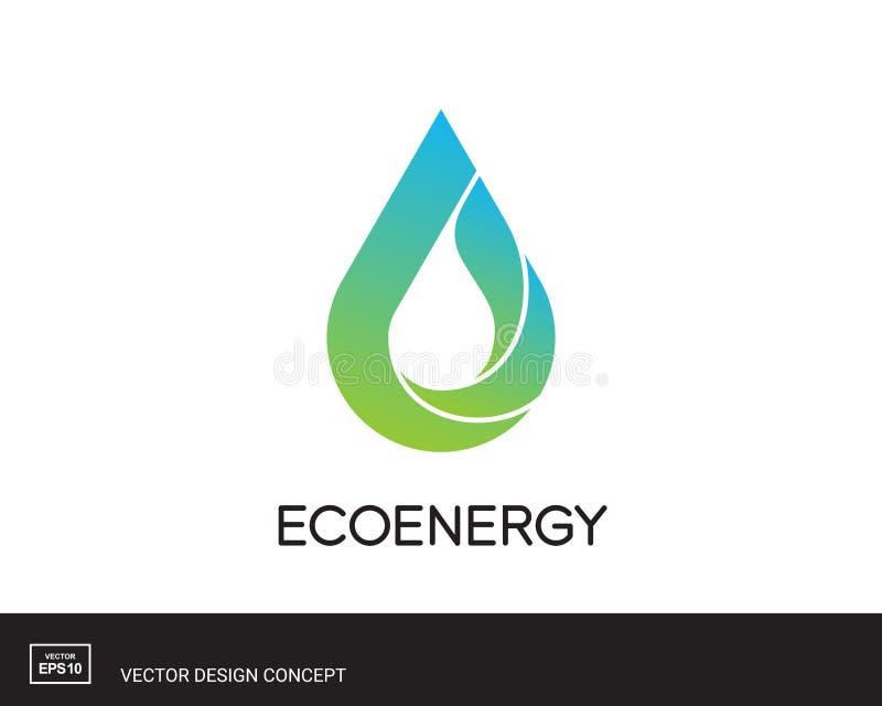 Vattendroppemblem modern logomall stock illustrationer