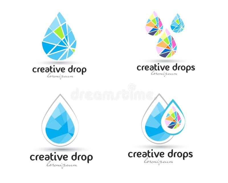 Vattendropplogo stock illustrationer