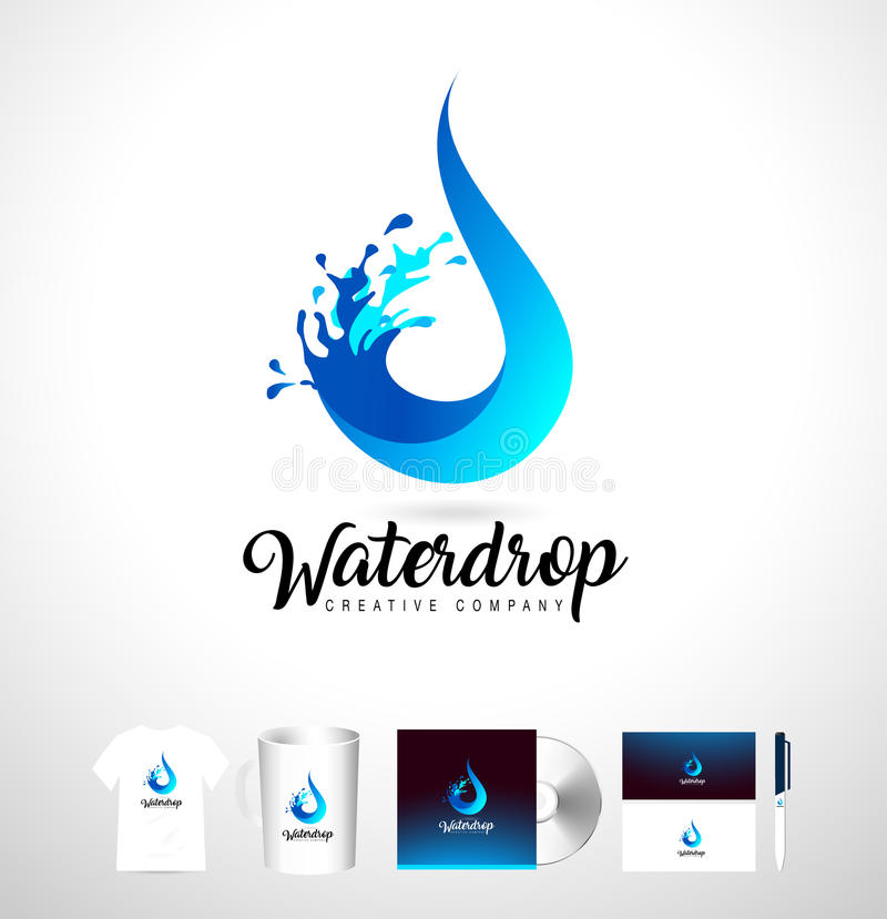 Vattendropplogo Design för vektorvattendroppe med färgstänk stock illustrationer