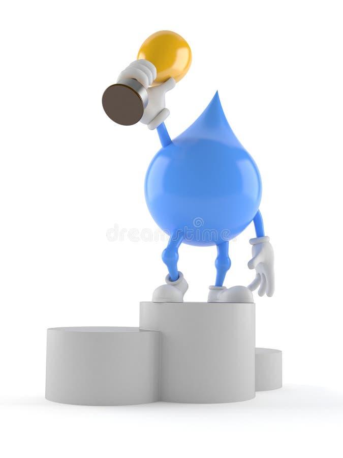 Vattendropptecken som rymmer den guld- trofén royaltyfri illustrationer