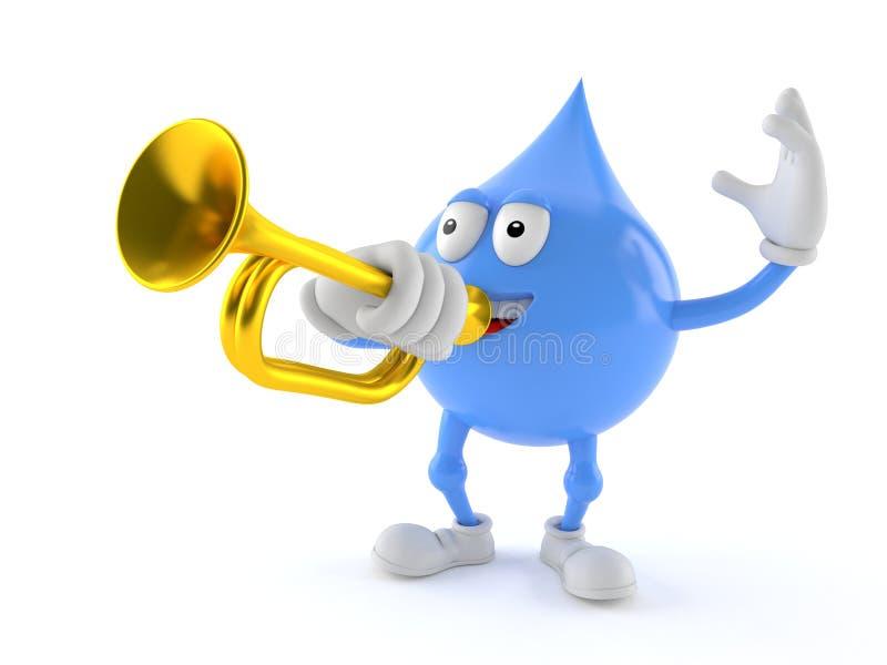 Vattendropptecken som spelar trumpeten royaltyfri illustrationer
