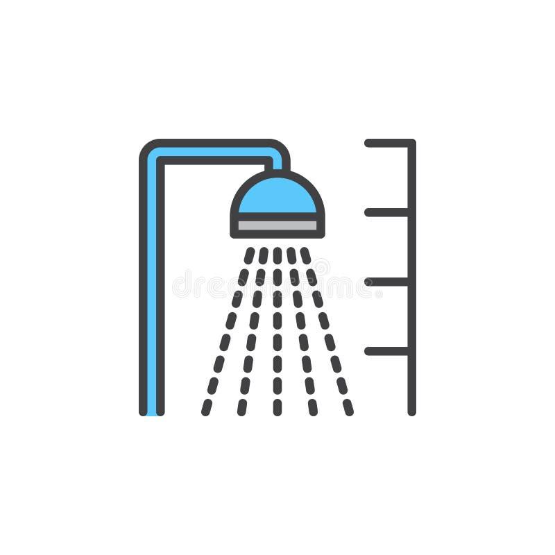 Vattenduschlinje symbol, fyllt översiktsvektortecken, linjär färgrik pictogram som isoleras på vit vektor illustrationer
