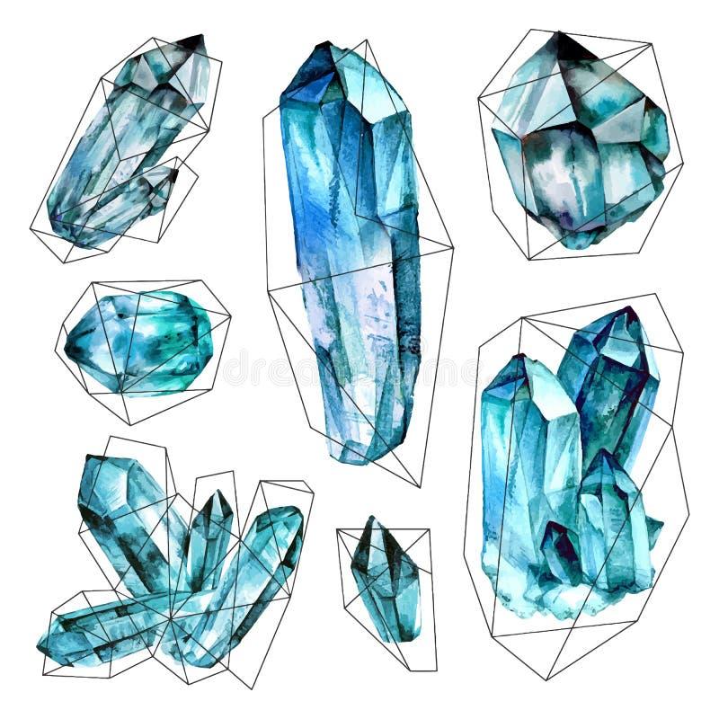 Vattenfärgädelstensamling vektor illustrationer