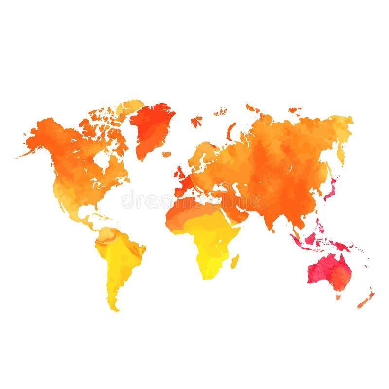 Vattenfärgöversikt av den isolerade världen royaltyfri illustrationer
