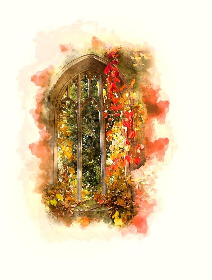 Vattenfärg övergett kyrkligt fönster London arkivbild