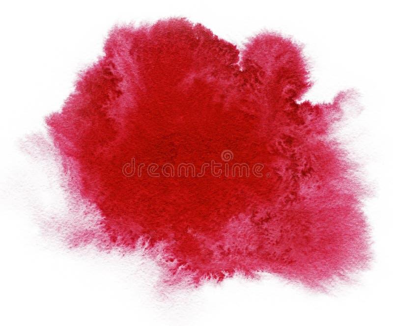 vattenfärg Abstrakt röd fläck på vattenfärgpapper färgpulverdroppe Härliga vattenfärgdesignbeståndsdelar banret cirklar grunge stock illustrationer