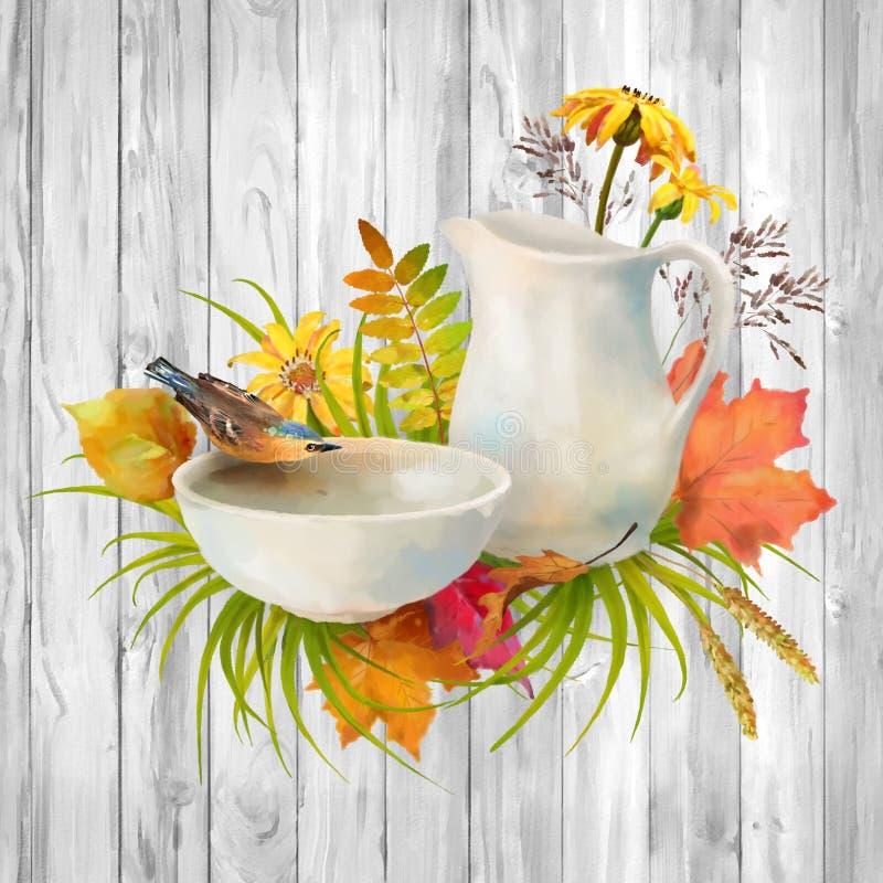Vattenfärg Autumn Composition arkivfoto