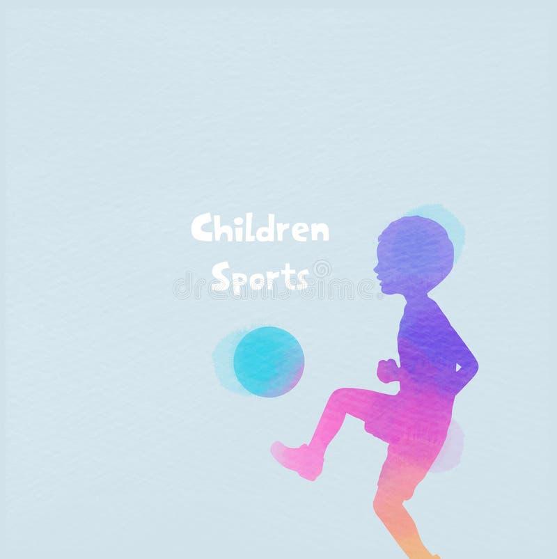 Vattenfärg av den lyckliga unga pysen som spelar fotbollbollen Begrepp av sporten Lycklig dag f?r barn` s stock illustrationer