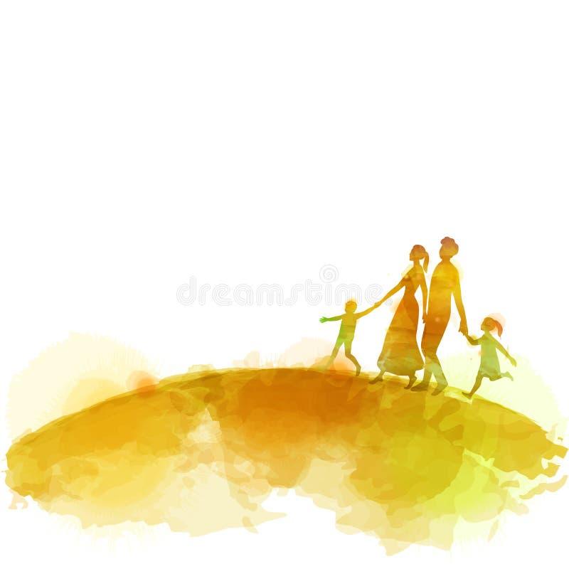 Vattenfärg av lyckliga föräldrar som har bra tid med deras lilla barn Familj på rosa bakgrund papperssnittstil vektor royaltyfri illustrationer