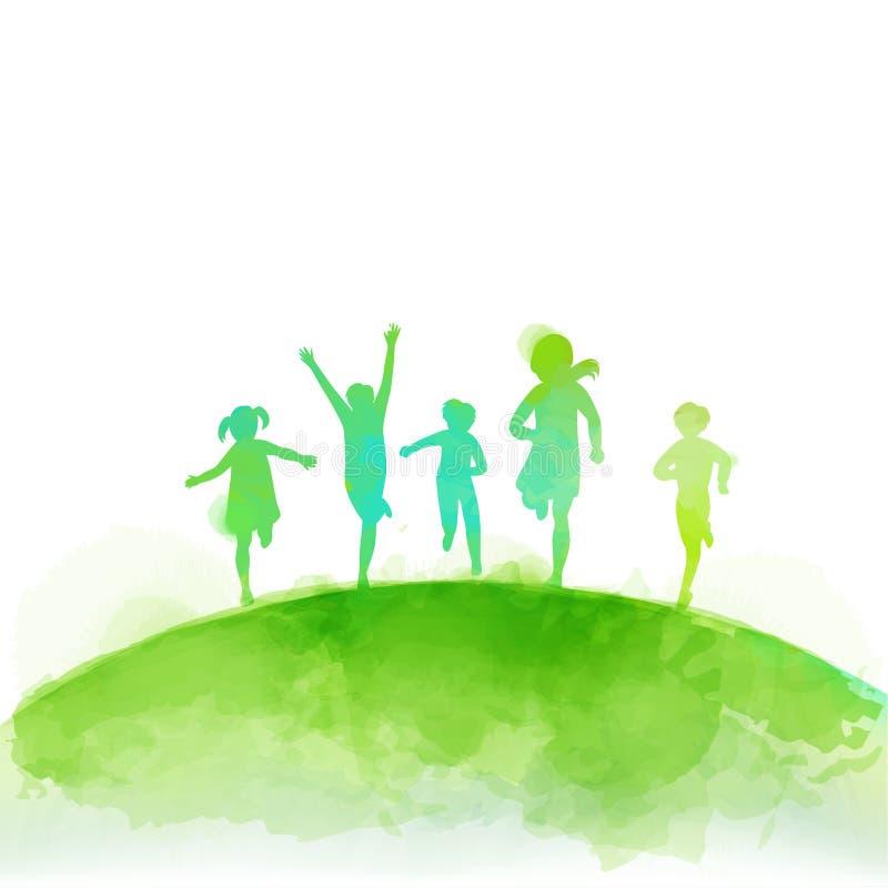 Vattenfärg av lyckliga ungar som tillsammans hoppar Lycklig dag för barn` s vektor illustrationer