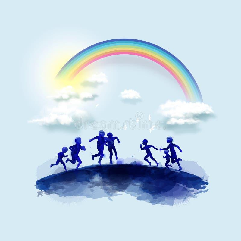 Vattenfärg av lyckliga ungar som tillsammans spelar Lycklig dag för barn` s också vektor för coreldrawillustration stock illustrationer