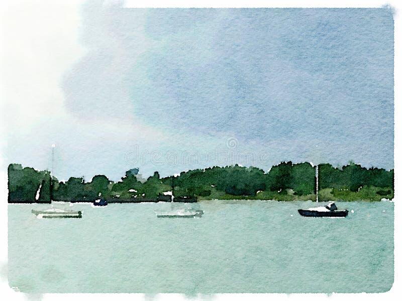Vattenfärg av segelbåtar på ankaret royaltyfri illustrationer