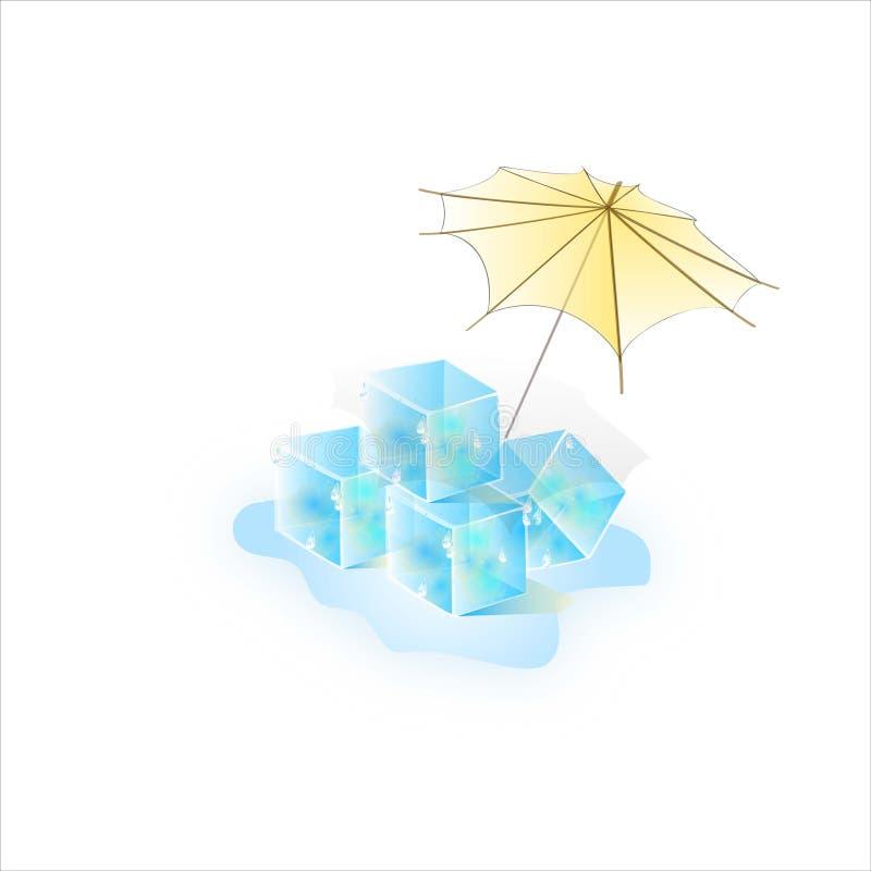 Vattenfärg av sommaris under ett paraply Dekorativ textur för vektor arkivbilder