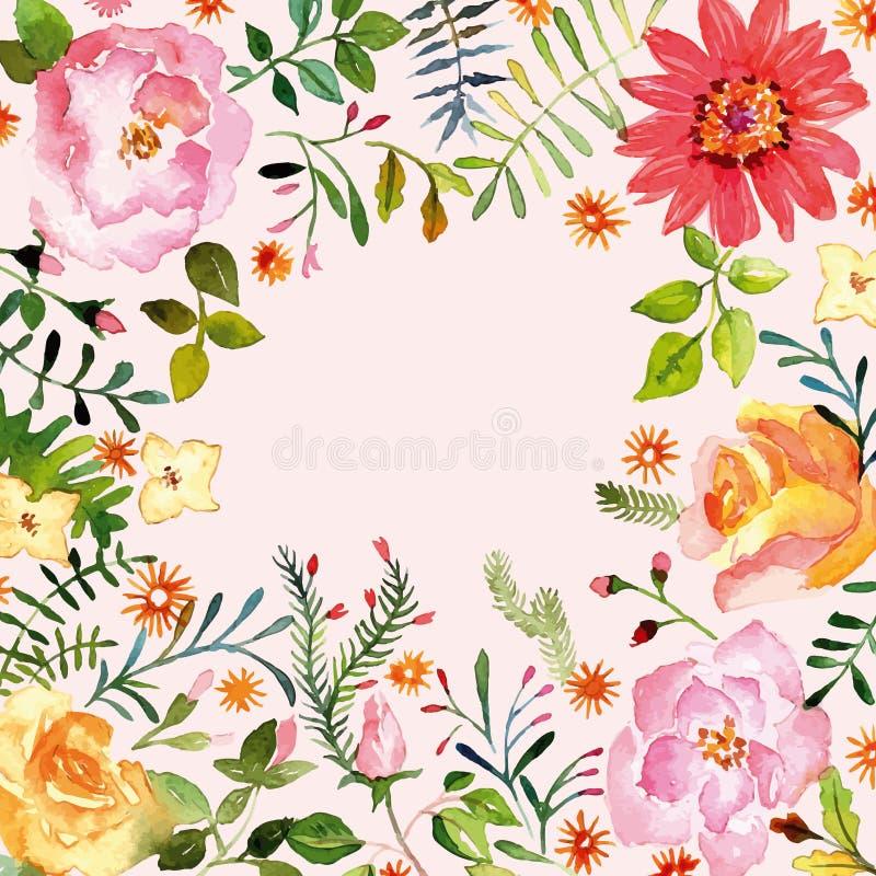 vattenfärg blom- prydnad Vår stock illustrationer