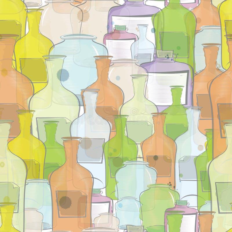 Vattenfärg bottles den seamless vektorn vektor illustrationer