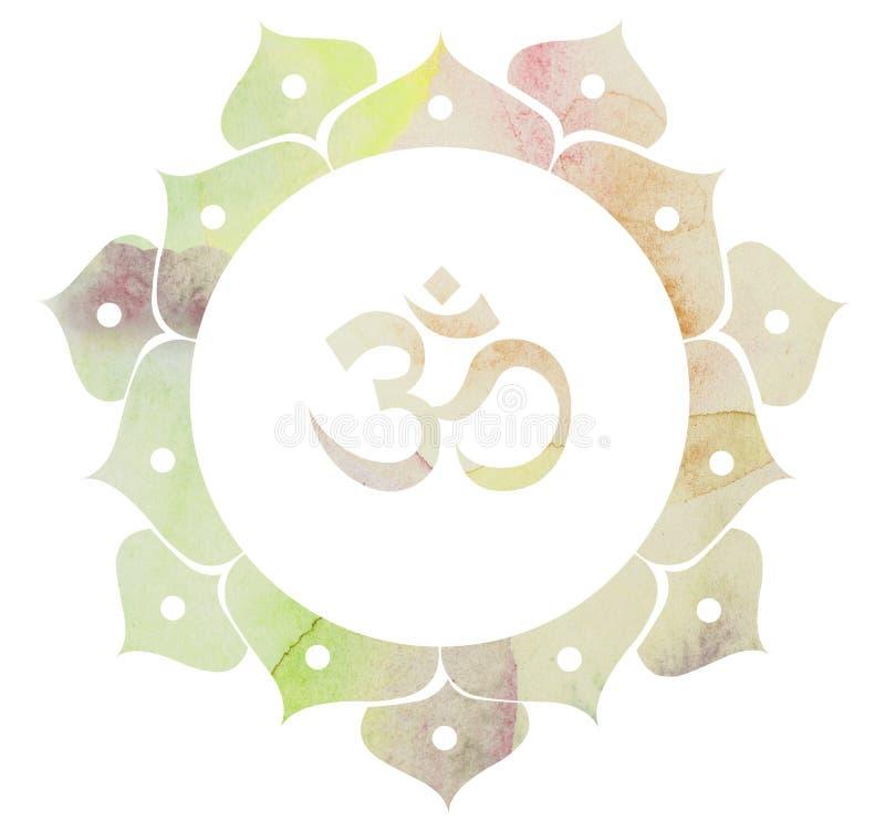 Vattenfärg dekorativa Lotus Om Aum Symbol royaltyfri illustrationer