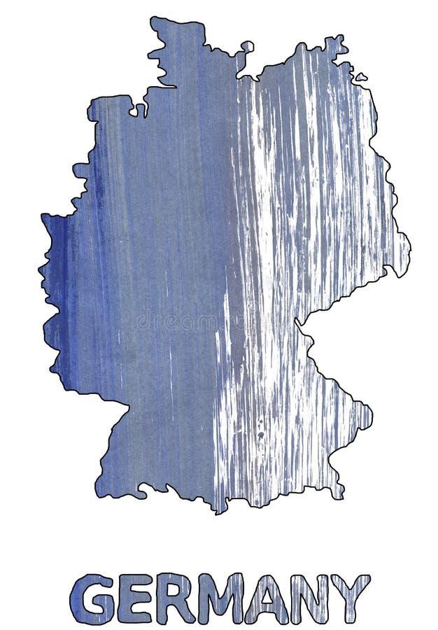 Vattenfärg för blått för skugga för Tysklandöversiktsöversikt royaltyfri illustrationer