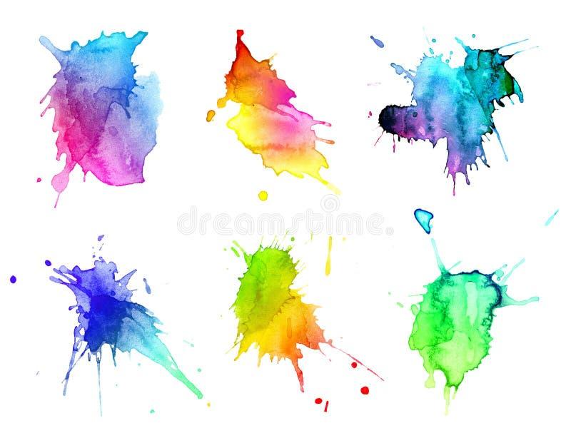 vattenfärg för hand för abstrakt begrepp blots tecknad set royaltyfri illustrationer