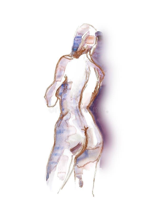 vattenfärg för nakenstudie 4 royaltyfri illustrationer