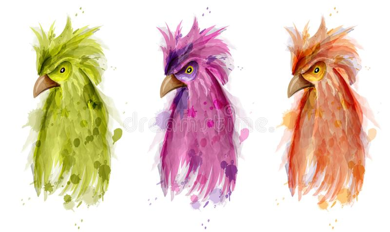 Vattenfärg för papegojafågelvektor Målad tecknad filmstilillustration royaltyfri illustrationer